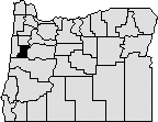 Map of the state of Oregon with Benton county on the western side blacked out.