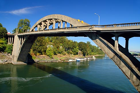 The Oregon City Bridge is a steel through arch bridge spanning the Willamette River between Oregon City and West Linn, Oregon.