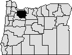 map of oregon with Clackamas county blacked out in northwest area