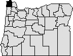 Map of oregon with Clatsop county in the top left blacked out.
