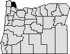 Map of Oregon with northwestern area blacked out that represents Columbia County.