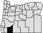 Map of Oregon with south west section blacked out to indicate Jackson County.