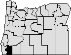 Map of Oregon with section in south west blacked out to indicate Josephine county.