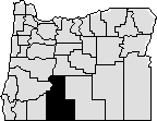 Map of Oregon with mid-southern area blacked out that represents Klamath County.