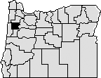 Map of the state of Oregon with Polk county in the north western area blacked out.