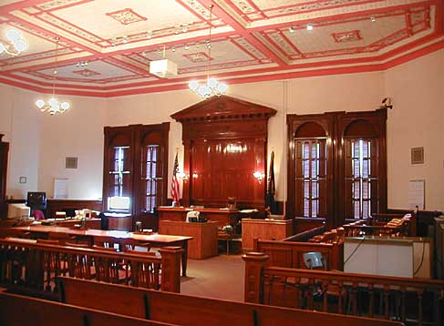 2nd floor courtroom with audience seating and judge's bench.
