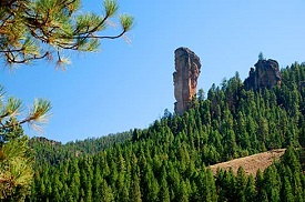 A tall and thin rock formation juts up above a forested landscape.