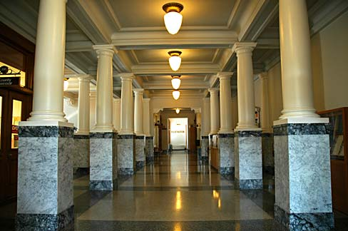 Lobby of Wasco county courthouse. View from the main entrance.