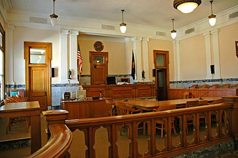 View of judge's bench in courthouse.
