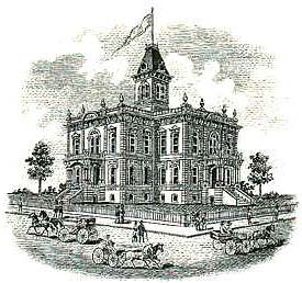 Drawing of Yamhill COunty Courthouse in 1889