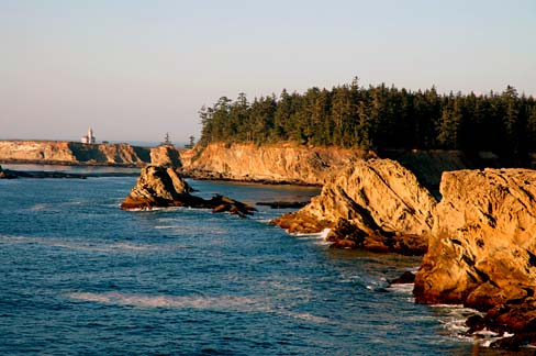 Ocean and rocky cliffs in Coos County