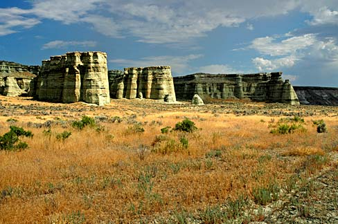 Rock formations resembling pillars.