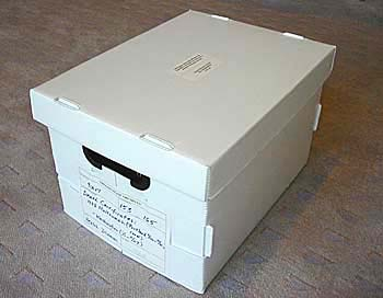 "A standard archival box measures 15"" x 12"" x 10"" for a total of one cubic foot."