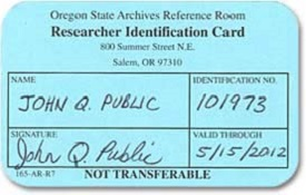Oregon State Archives Reference room researcher Id card example shows name, date and signature with ID #.
