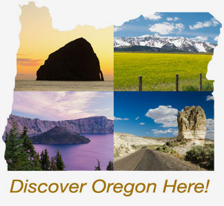 "Outline of Oregon with scenic images and ""Discover Oregon Here!"" text."