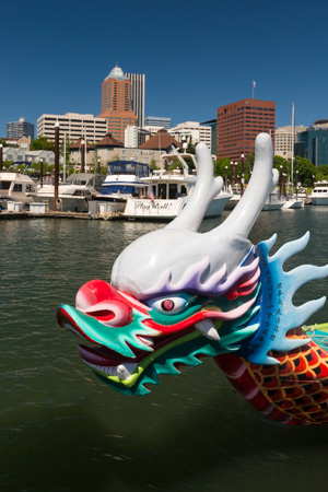 white, red, green, yellow, and blue dragon head from dragon boat