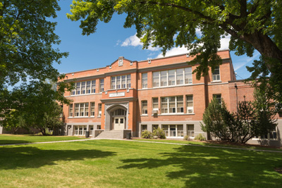 Wallowa High School building made of red brick