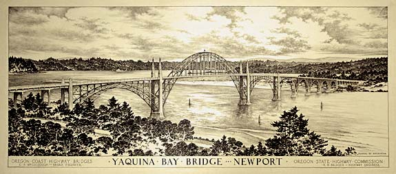 Drawing of Yaquina Bay Bridge in Newport.
