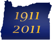 Oregon silhouette with the years 1911 and 2011 written in yellow