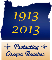 "Oregon silhouette with the years 1913 and 2013 in yellow and the words ""protecting Oregon Beaches"" underneath"