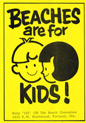 "yellow stickers states ""beaches are for kids!"""