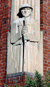 carving of soldier on corner of museum building