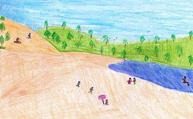 Crayon drawing of a water body surrounded on 1 side by flat land and children playing. In the back a green forested area.