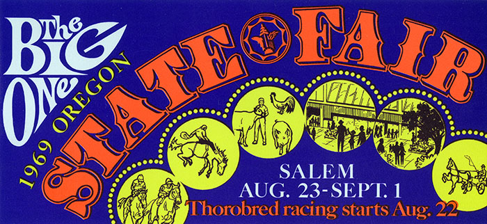 A colorful card advertises the 1969 Oregon State Fair in Salem.