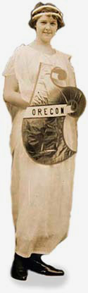 woman dressed in white stola  with Oregon shiled in front