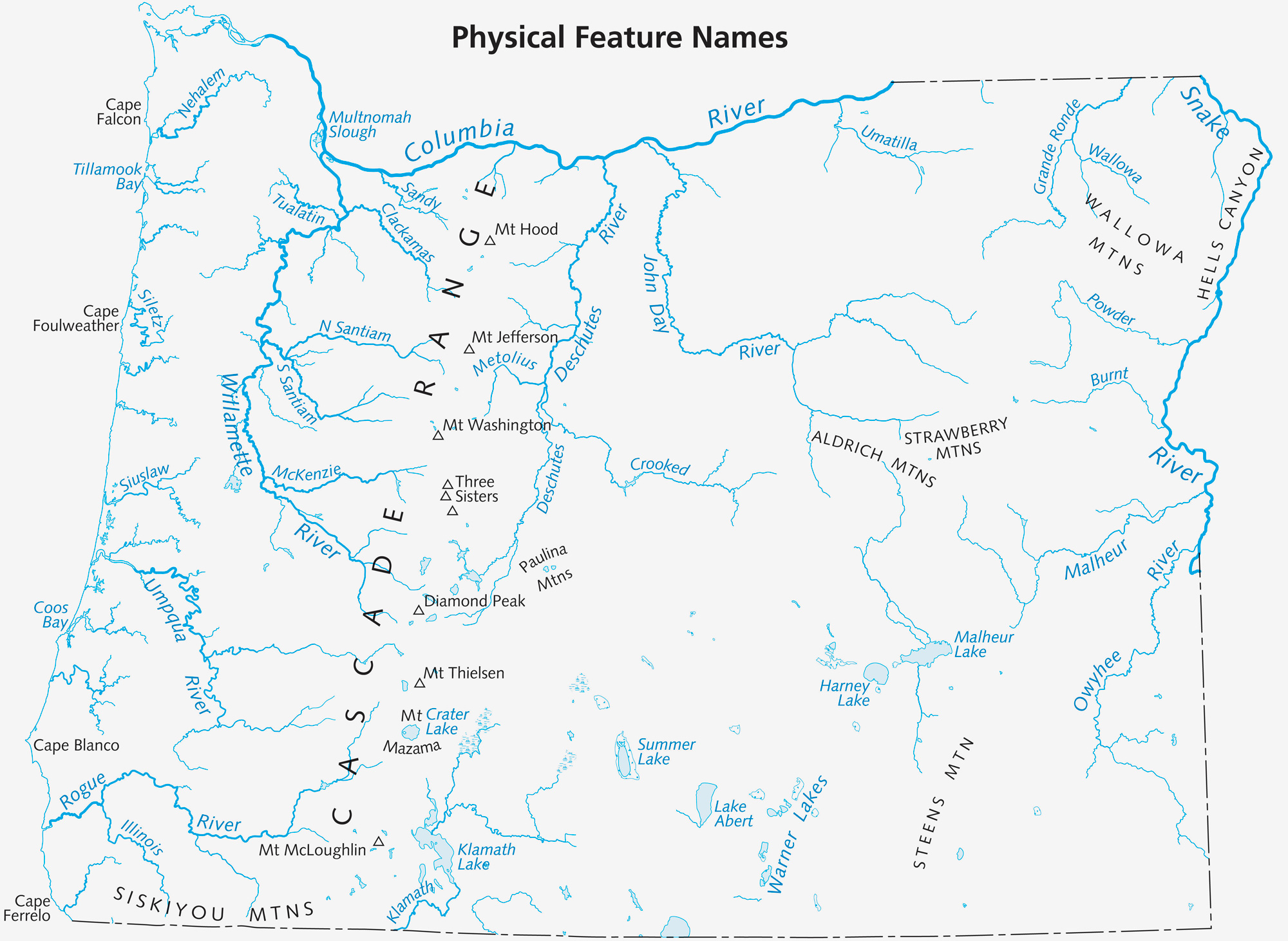 map of Oregon Physical features: rivers and mountains