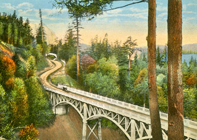 painting of Columbia River Gorge Highway