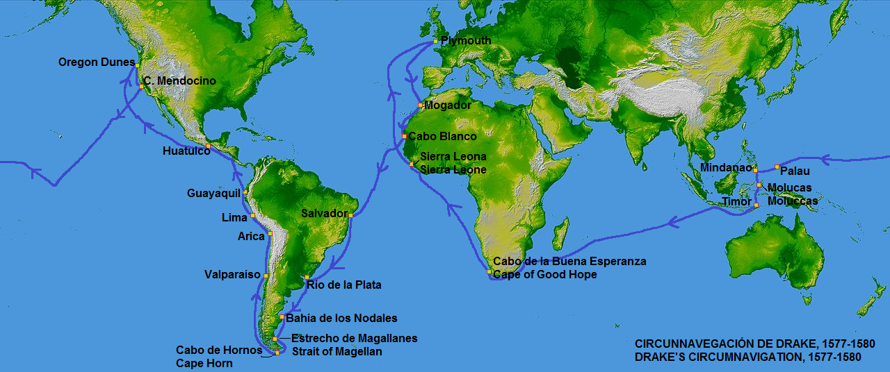 map of Sir Francis Drake's travels