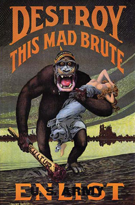 WWI enlistment poster depicting giant gorilla carrying off woman