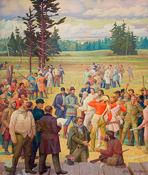mural of settlers meeting at Champoeg