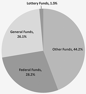Pie chart shows Federal Funds 29.3%, General Funds 26.3%, Lottery Funds 1.5%, Other funds 42.9%
