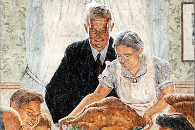 mural of family enjoying meal together