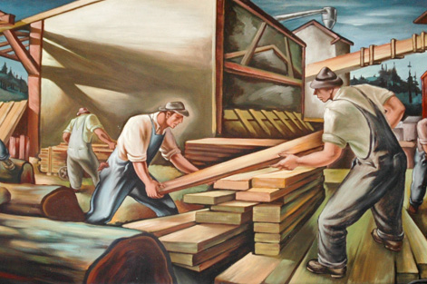 mural of lumber mill workers