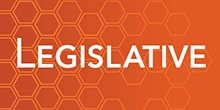 "Image of the Oregon Capitol dome with the gold man statue atop and the word ""Legislative"" on purple background."