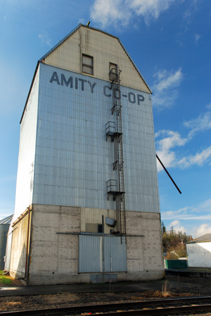 Grain elevator with 'Amity Co-Op' printed at top. Railroad tracks run in front of building.