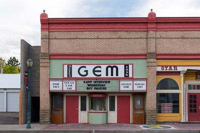 An old brick building houses the GEM theater located at 239 West main Street in Athena Oregon.