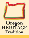 Logo of the Oregon Heritage Tradition with the outline of the state of Oregon.