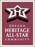 Logo of the Oregon Heritage All-Star Community is a star with the letter H in the middle.