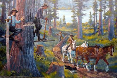 Colorful mural of early logging techniques used in the Sandy area. Men with horses & long saws in the forest.