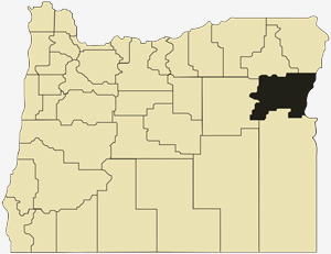 Oregon county map with Baker County shaded