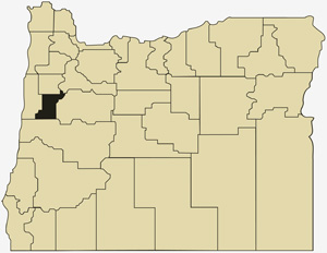 Oregon county map with Benton County shaded