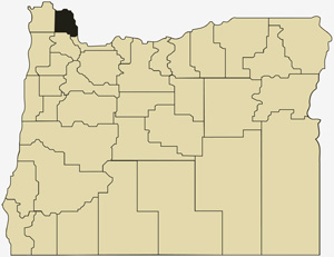 Oregon county map with Columbia County shaded
