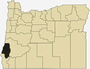 Oregon county map with Coos County shaded