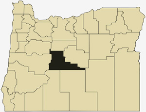 Oregon county map with Deschutes County shaded