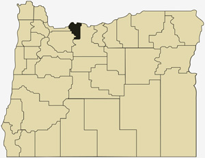 Oregon county map with Hood River County shaded