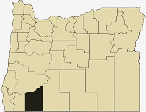 Oregon county map with Jackson County shaded
